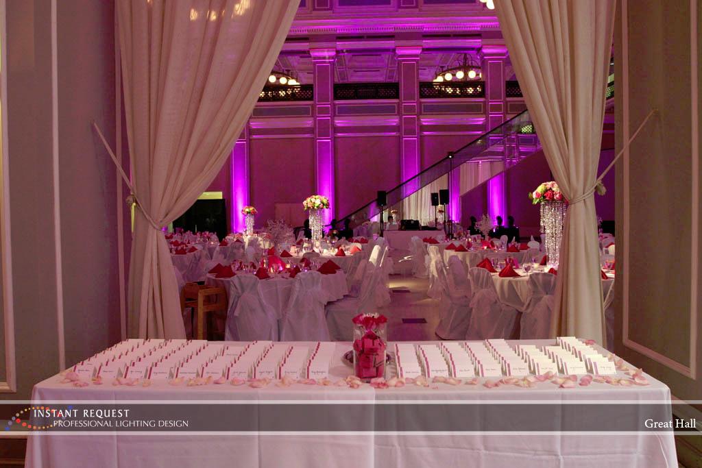 Wedding led uplighting at Great Hall 01