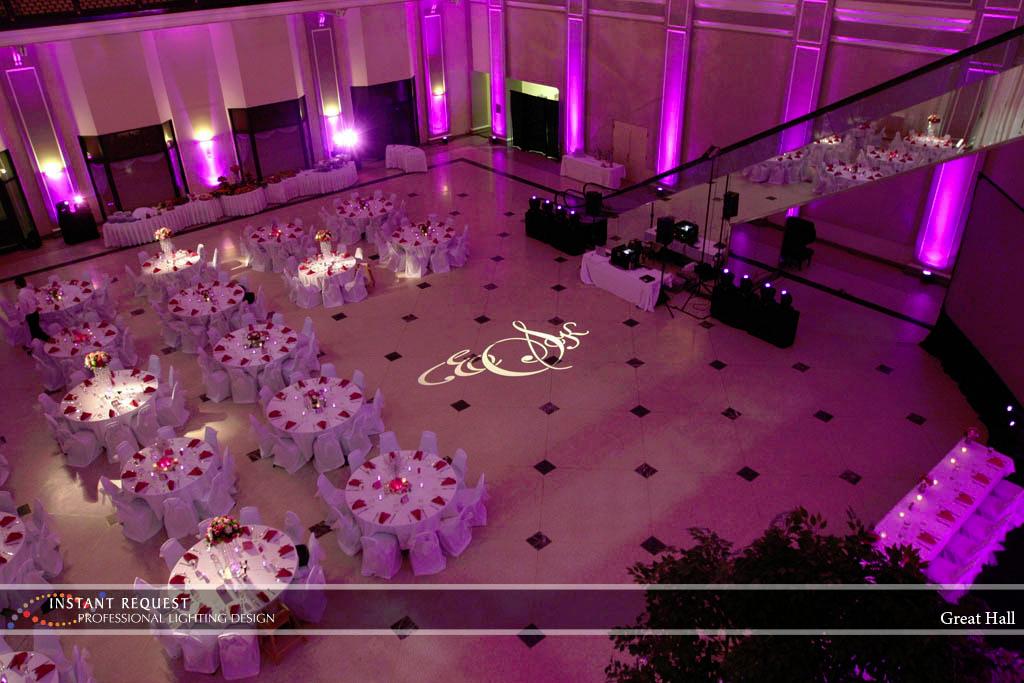Wedding led uplighting at Great Hall 04