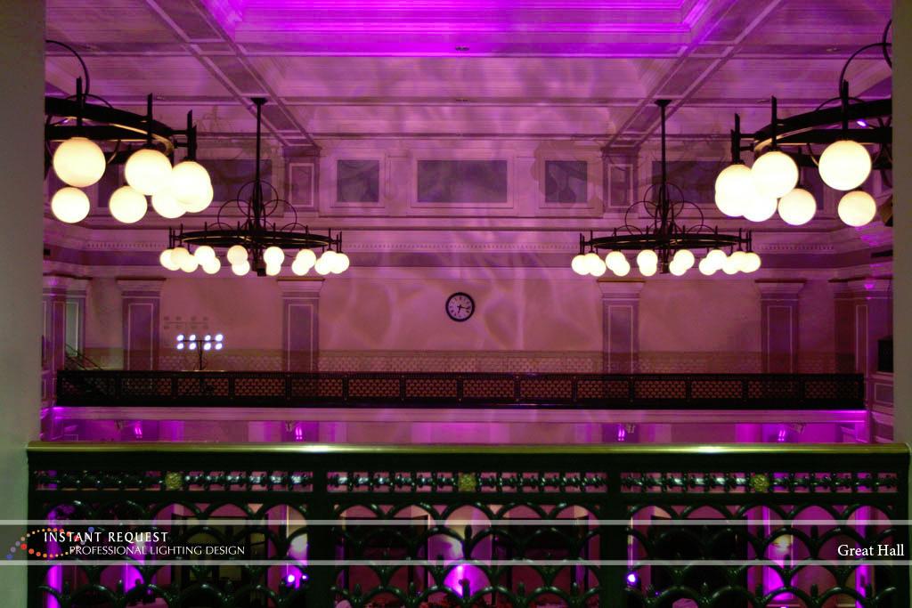 Wedding led uplighting at Great Hall 05