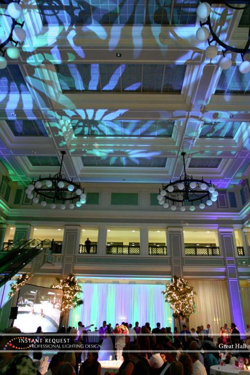 Wedding led uplighting at Great Hall 08
