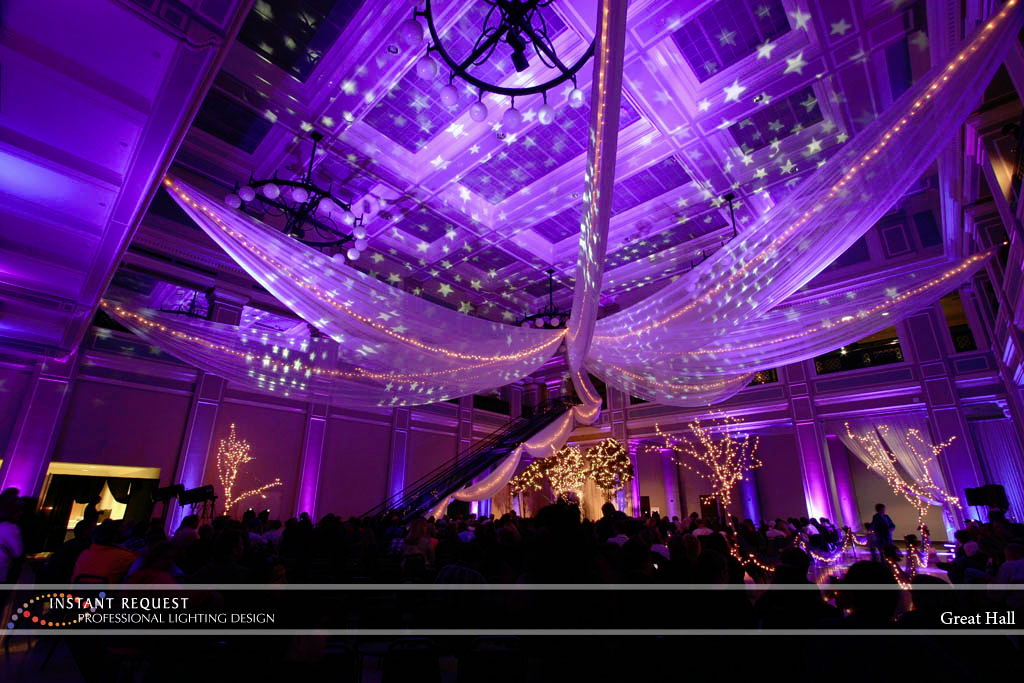 Wedding led uplighting at Great Hall 09