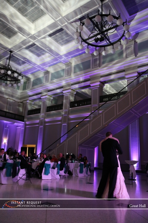 Wedding led uplighting at Great Hall 16
