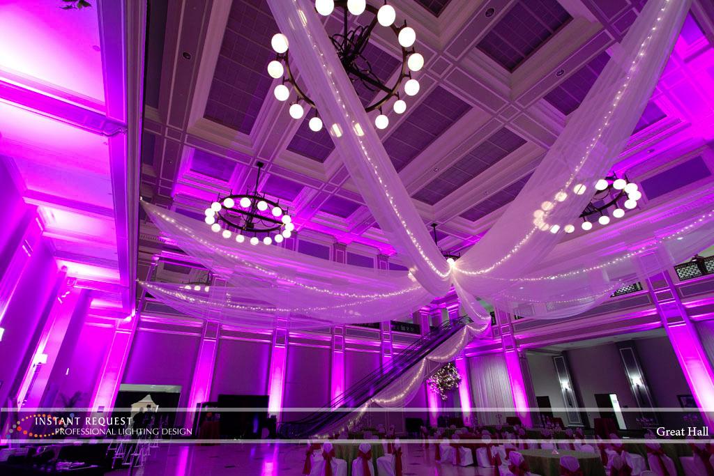 Wedding led uplighting at Great Hall 22