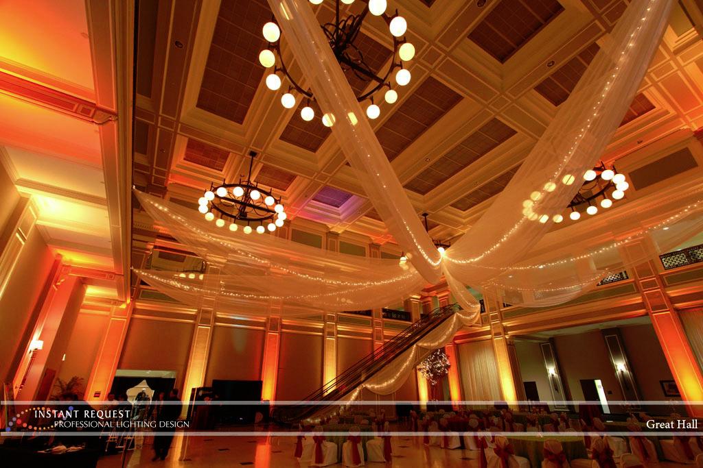 Wedding led uplighting at Great Hall 26