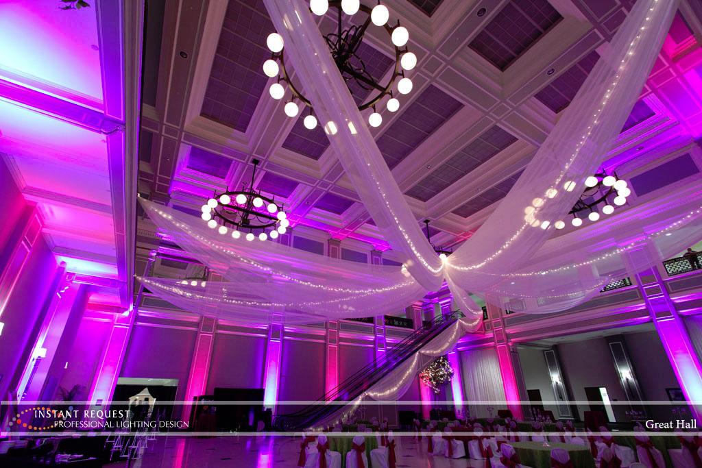 Wedding led uplighting at Great Hall 28