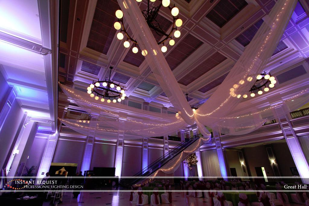 Wedding led uplighting at Great Hall 29