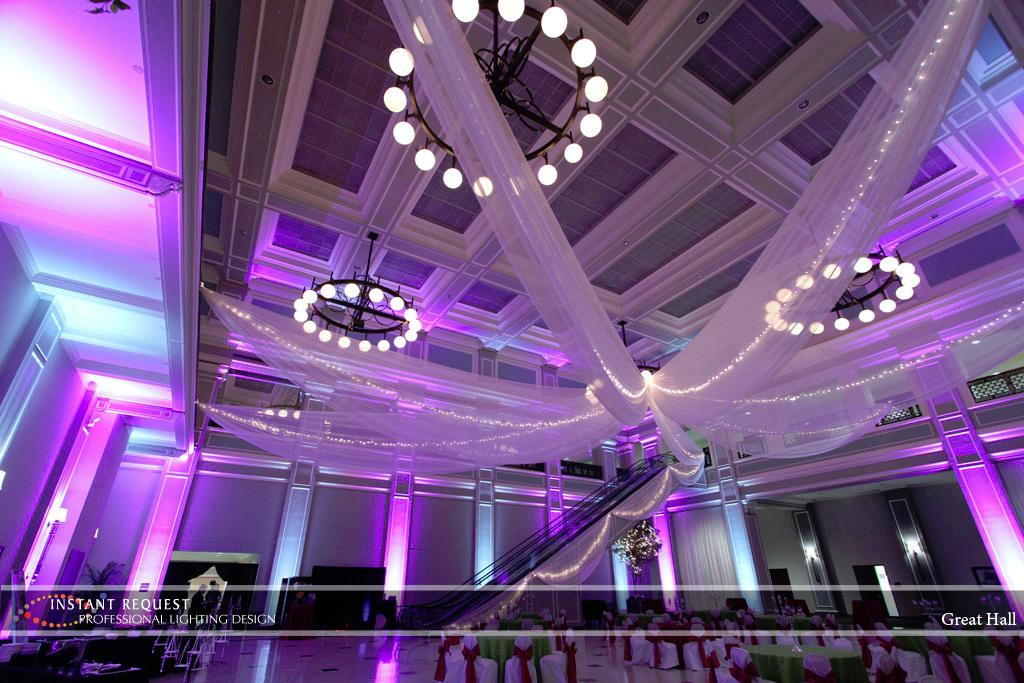Wedding led uplighting at Great Hall 30