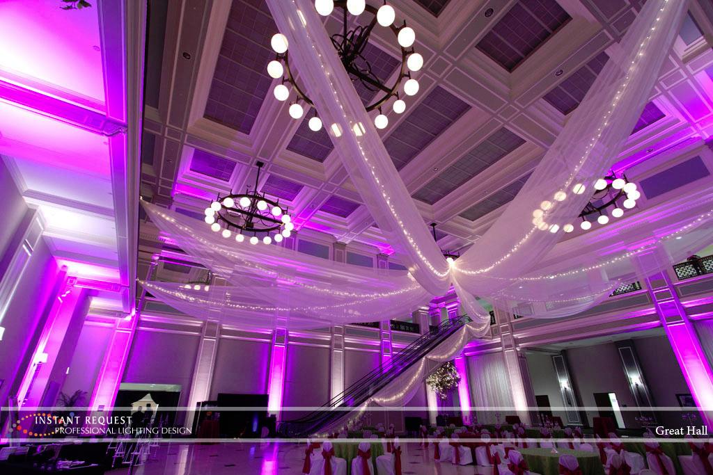 Wedding led uplighting at Great Hall 31