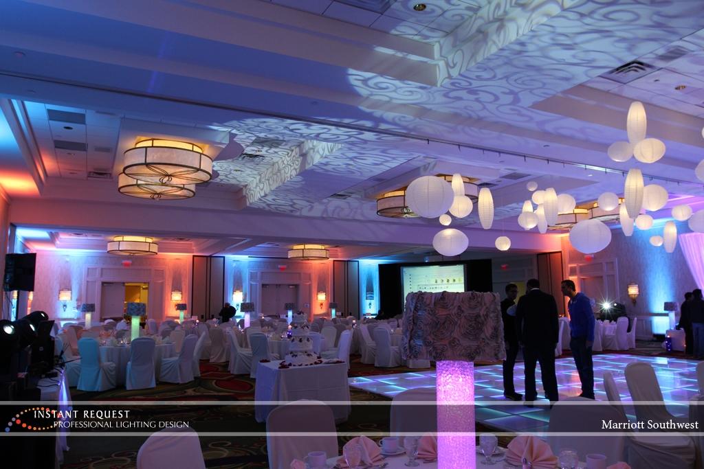 Wedding led uplighting at Marriott  6