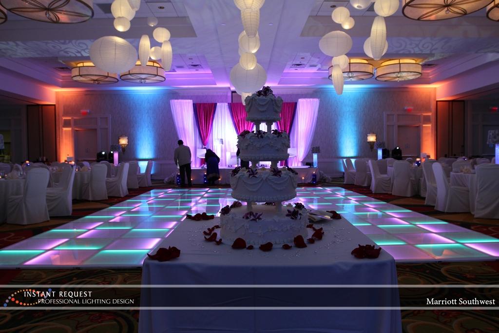 Wedding led uplighting at Marriott 8
